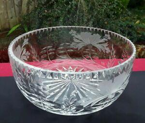 LUXURY ROYAL BRIERLEY LARGE FRUIT SALAD BOWL ENGLISH HONEYSUCKLE CUT 8in WIDE