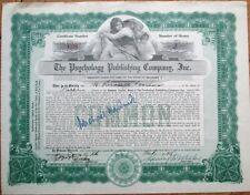 MICHAEL HARDWICK Autograph on 1928 Psychology Publishing Stock Certificate