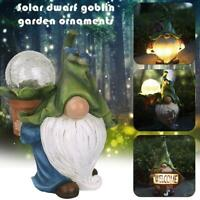Garden Gnome Statue Solar LED Gnome Figurine Lights For Outdoor Yard Lawn HOT