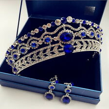 5cm High Sapphire Blue Crystal Tiara Earrings Set Wedding Party Pageant Prom Cro