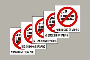 5 No Smoking or Vaping stickers top quality screen printed Free 1st Class P&P