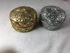 2 Trinket Tins Rhinstones Beads On Them