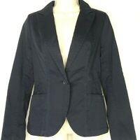 Calvin Klein Jeans Twill Blazer Jacket Collared Women Size S Navy Blue Long Slv