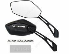 2X SPECCHIETTI SPECCHI MOTO SCOOTER M10 DX LOGO ARGENTO XCITING 250 300 400 500
