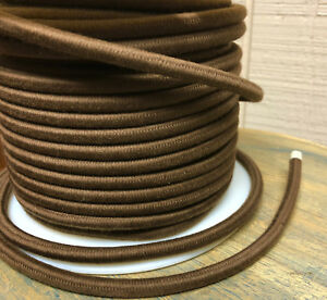 Brown Cotton Cloth Covered Round Cord, 3-Wire Fabric Cable, Vintage Lamps, USA