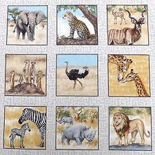 Safari card Squares fabric Lion MeerKat etc  30x112 cm 33 squares Makower MK1532