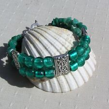 "Gemstone Crystal Beaded Bracelet, Amazonite & Green Silverfoil ""Calypso"""