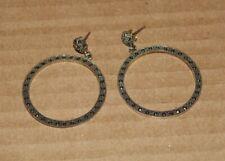 925 Silver Detailed Dangle Hoop Earrings, Made in Thailand