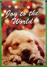 "small ""Joy to the World"" Puppy Dog Christmas Garden Flag (12"" x 18"")"