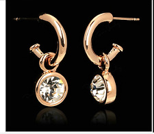 Sparkly 18K Rose Gold Plated Austrian Crystal Solitaire Dangle Hoop Earrings