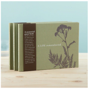 A Life Remembered Memorial Condolence Funeral Guest Book Olive Green Wake Sign