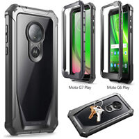 For Moto G7 Play / G6 Forge Case [Scratch Resistant Back] Shockproof Cover Black