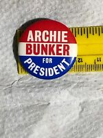 Vintage Archie Bunker For President Pin Back Button Red White & Blue