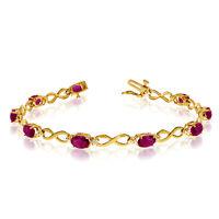 14K Yellow Gold Oval Ruby and Diamond Bracelet