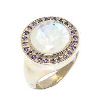 Rainbow Moonstone, Amethyst Gemstone 925 Sterling Silver Ring Size 7 R-193