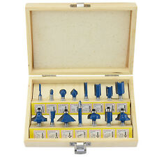 "15pc Router Bits 1/4"" inch Shank Tungsten Carbide Rotary Power Tool Accessories"
