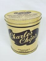 RARE Charles Chips Potato Chip Tin Sour Cream & Onion w/Chives Waffle Chips
