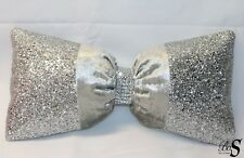 Offer!  Silver Crushed Velvet, Silver Glitter Bow, Cushion.