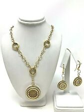 Italian 14k Gold Woven Design Round Dangle Earrings and Pendant Necklace Set