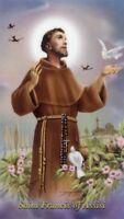 ST. FRANCIS OF ASSISI - Laminated  Holy Cards.  QUANTITY 25 CARDS