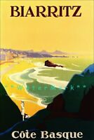 La Cote Basque 1925 Biarritz Vintage Poster Print Retro Art French Coast Travel