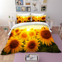 Sunflower Queen/Single/Double/King Bed Set Duvet Quilt Cover Set Linen