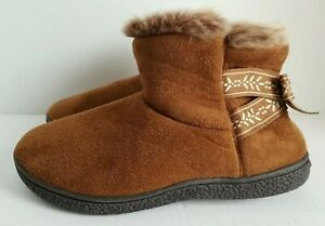 Isotoner Woodlands Womens Faux Fur Boot Slippers Size 6.5 -7