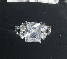 Sterling Silver Ring Size Wedding Engagement Brilliant 4 Carat Cz Main Stone