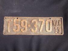 Vintage 1933 Kansas License Plate #T59-370 (Long plate)