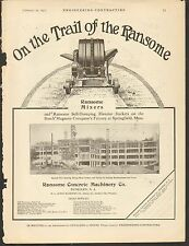 VINTAGE MAGAZINE AD #00321 -1911 RANSOME CEMENT MIXER - DENULLEN, NJ