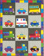New Bright Colorful Kid's Quilt Pattern WHEELS 40x52