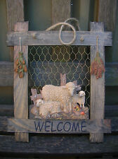 WOODEN COUNTRY SHEEP LAMB WELCOME WALL PLAQUE SIGN