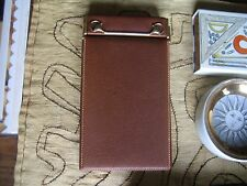 VINTAGE GUCCI LEATHER NOTEPAD WITH SIGNATURE HORSEBIT ACCENT IN SOLID BRASS