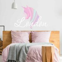 CUSTOM NAME VINYL DECAL WITH WATERCOLOR UNICORN WALL STICKER