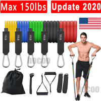 Update 150LB 11 PCS Resistance Bands Set Home Gym Exercise Tube Bands Training