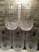 Cristal d'Arques Crystal Longchamp Highball Tumbler Set of 6 France Vintage 24%