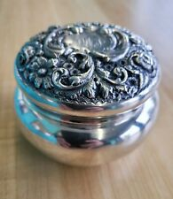 ANTIQUE SHREVE & CO. STERLING SILVER REPOUSSE POWDER JAR
