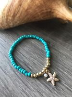Womens handmade starfish beaded bracelet