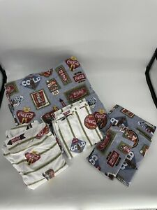 Vtg Coca Cola Full Bed Set, Comforter, 2 Sheet Sets, Pillow Case Skirt, 2 Case