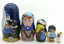 Russe 5 poupées russes Matriochka Mother Goose Humpty Dumpty Chat et violon