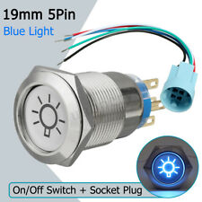 19mm 12V Car Boat Push Button Switch On Off Dome LED Light Blue Socket Connector