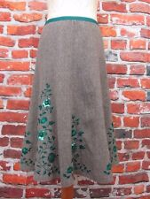 Monsoon tweed winter skirt with jade embroidery and sequins lined UK 10 W30 L27