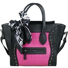 Nero e Rosa Similpelle Designer Teschio Borchie Tote Bag Handbag libero SCIARPA
