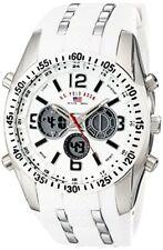 U.S. Polo Assn. Sport Mens Silver-Tone Watch W/ White Silicone Band