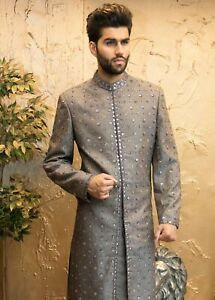 Silver Sherwani with Mirror Embroidery size 38 42 - Mens Indian Suit Bollywood