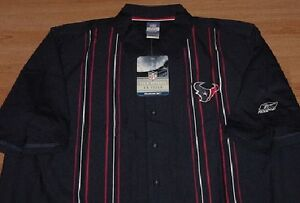 Houston Texans Dress Polo Shirt Medium Reebok Authentic NFL Embroidered Logos