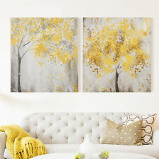 2Pcs Yellow Flowers Blossom Tree Canvas Wall Art Picture Printing Set Frameless