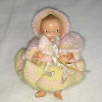 "Irwin Vintage Plastic 4 3/4"" Doll with Pink and Yellow Crocheted Outfit Set"
