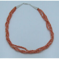 GORGEOUS 3 Strand .925 Sterling Silver Natural Pink Italian Coral Bead Necklace