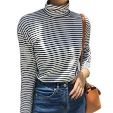 Korean Women Girl Loose Turtleneck Long Sleeve Striped Bottom T Shirt Blouse Top